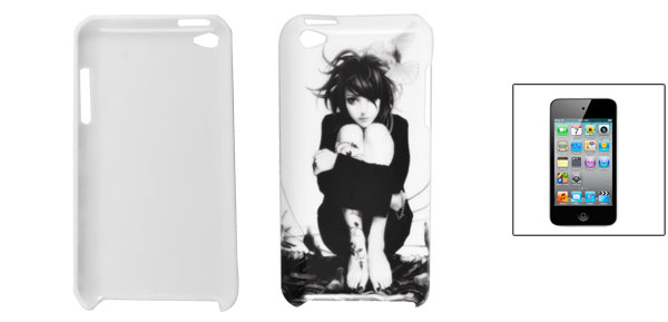 Pigeon Girl Print White Hard Plastic Back Case for iPod Touch 4