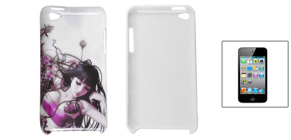 Flowers Girl Pattern White Shell Back Case for iPod Touch 4