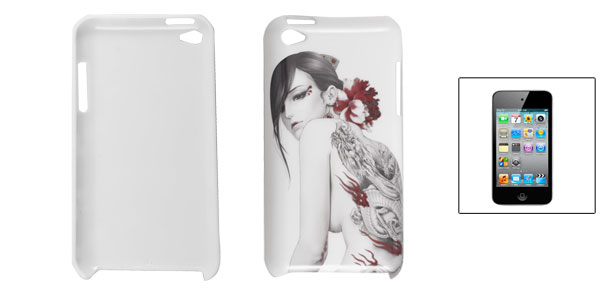 Dragon Tattoo Lady Print White Shell Back Case for iPod Touch 4