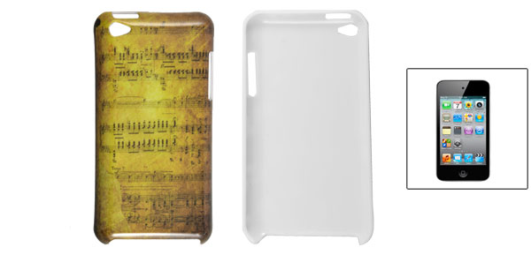 Yellow Hard Plastic Note Pattern Shell Back Case for iPod Touch 4