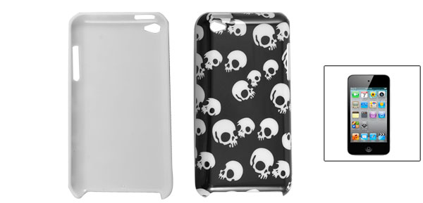 White Skull Pattern Black Hard Plastic Back Shell Case for iPod Touch 4