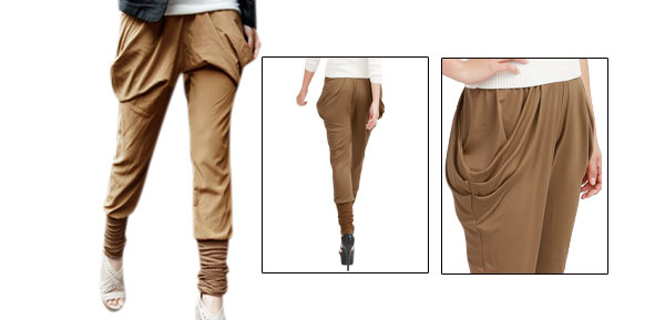 Woman Elastic Waist Baggy Pockets Harem Pants Trousers Brown S