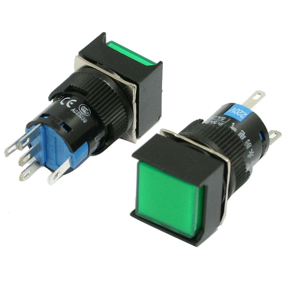 2-x-5-Pin-Terminals-Green-Lamp-Square-Cap-Momentary-Push-Button-Switch-AC-220V