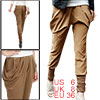Woman Elastic Waist Baggy Pockets Harem Pants Trousers Brown M