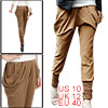Woman Baggy Pocket Elastic Waist Crop Harem Pants Brown M