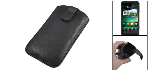 Black Faux Leather Pull Up Tab Pouch Case for LG Optimus 3D P920