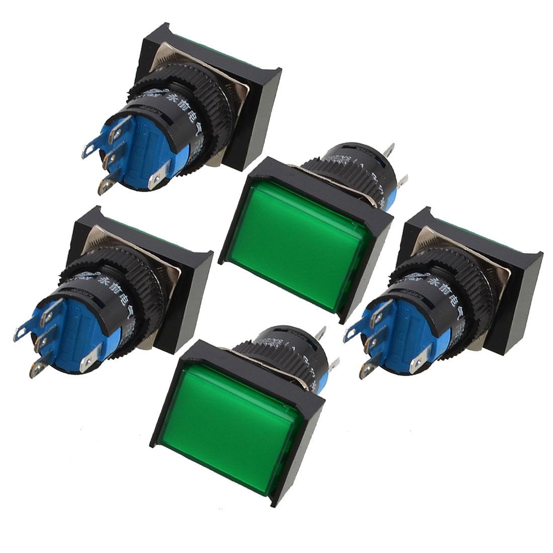 5pcs-AC-220V-Light-1P2T-Green-Rectangle-Cap-Momentary-Push-Button-Switch
