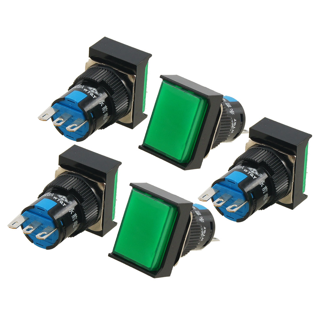 5x-Momentary-Green-Rectangle-Cap-SPDT-Push-Button-Switch-AC-250V-5A