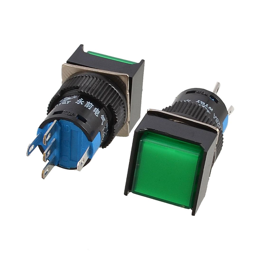 2-x-Green-Square-Cap-1NO-1NC-AC-250V-5A-Momentary-Push-Button-Switch