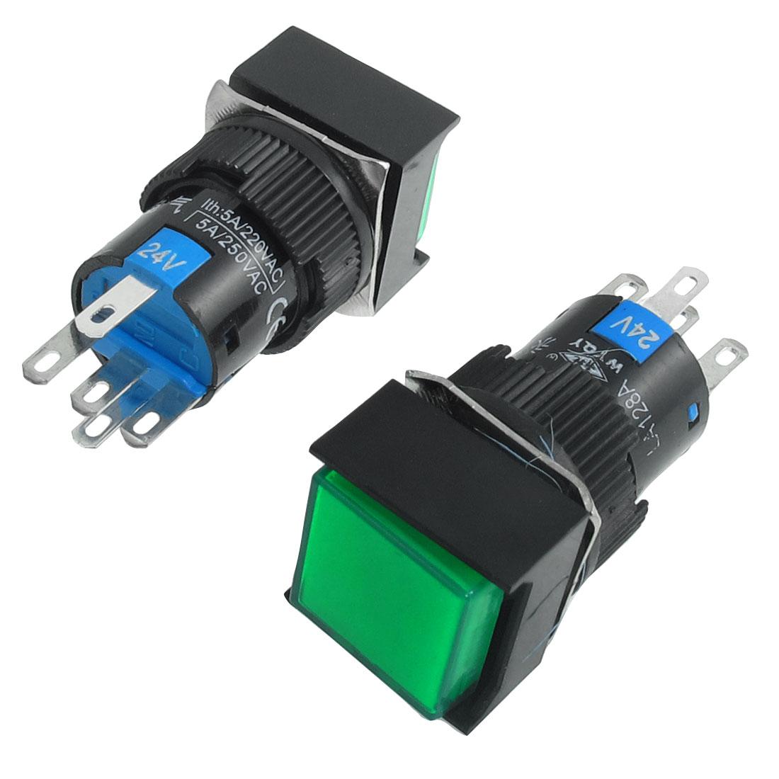 2-x-5P-Momentary-1NO-1NC-Green-Neon-Light-Square-Push-Button-Switch-24V