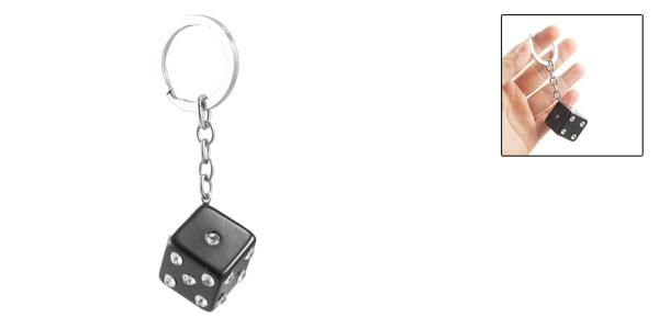 Glittery Faux Rhinestone Black Plastic Dice Keyring Key Chain