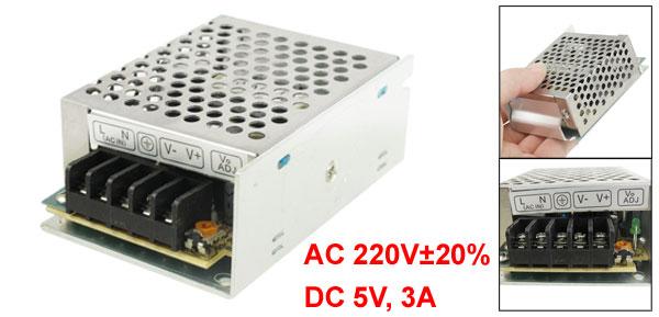 AC 220V DC 5V 3A 15W Switch Power Supply Converter for LED Flexible Strip Light
