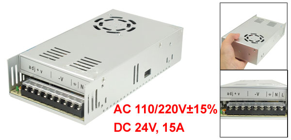 AC 110/220V DC 24V 15A 360W Metal Housing Power Supply Adapter for LED Light