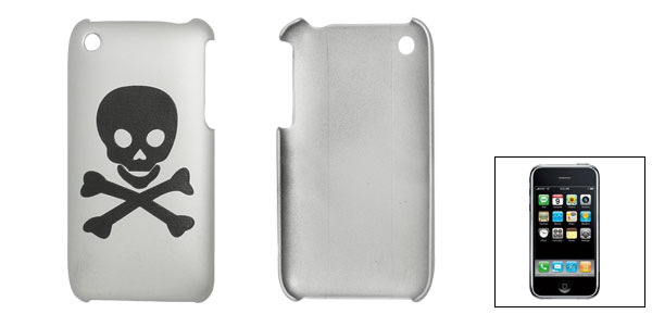Black Human Skeleton Gray Back Case for iPhone 3G 3GS