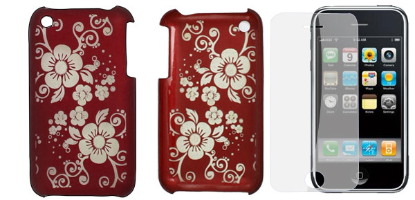 Burgundy Hard Back Case w Clear Screen Protector for iPhone 3G 3GS