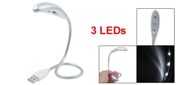 Flexible Gooseneck USB Port 3 LEDs Mini Reading Light for Computer
