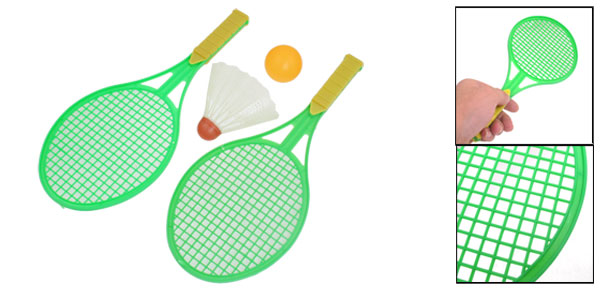 3 in 1 Green Plastic Shaft Badminton Racket Pingpong Shuttlecock Sport Set for Kids