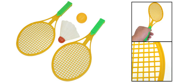 Yellow Plastic Shaft Green Handle Badminton Rackets Pingpong Badminton Set