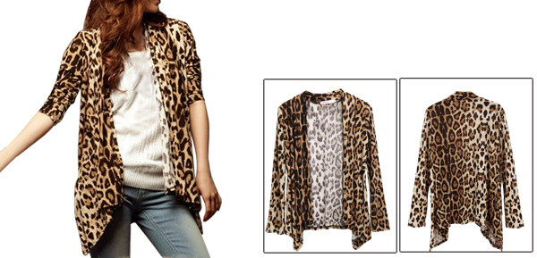 Allegra K Ladies Leopard Print Buttonless Long Sleeve Coat Beige Coffee Color S