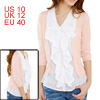 Ladies 2-Fer Bracelet Sleeve Ruched Front Fall Blouse Tops Pink W...