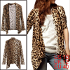 Allegra K Women Buttonless Leopard Pattern Long Sleeve Cardigan B...