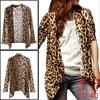 Allegra K Women Buttonless Leopard Pattern Long Sleeve Cardigan B...
