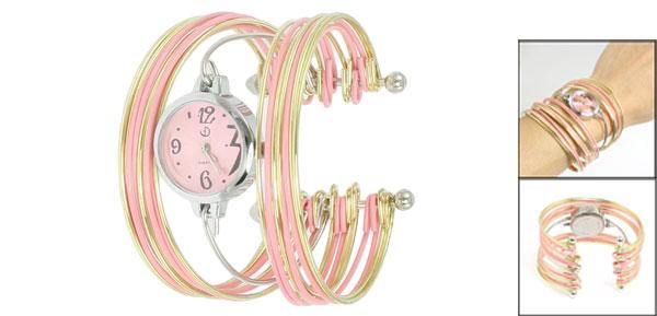 Pink Gold Tone Metal Multi Tier Round Dial Bangle Quartz Watch