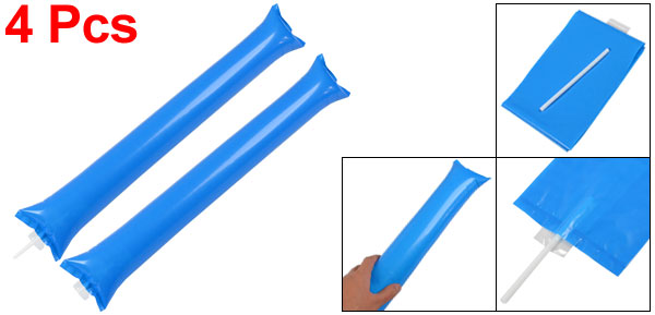 2 Pairs Blue Plastic Inflatable Sport Match Vocal Concert Cheer Balloons Stick