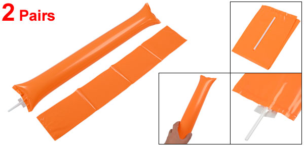 2 Pairs Orange Plastic Inflatable Cheer Balloons for Entertainment Occasion
