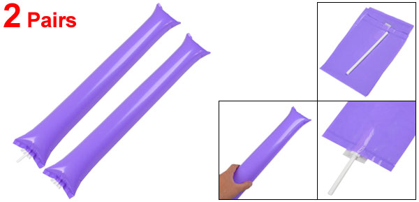 2 Pairs Purple Plastic Concert Sport Match Inflatable Cheer Balloons Bang