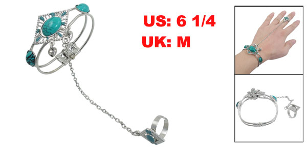 Ladies Turquoise Beads Decor Silver Tone Chain Ring Bell Bracelet UK M