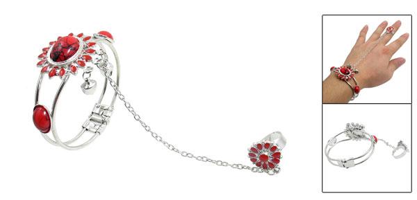 Southeast Asia Style Sunflower Design Bell Decor Ring Bracelet