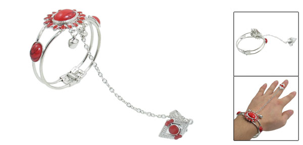 Sunflower Shape Red Plastic Beads Detailing Finger Ring Bell Bracelet