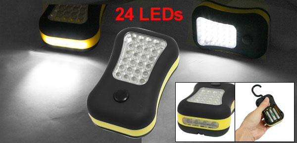 Black Yellow Casing 24 LED Indoor Outdoor Camping Magnetic Hanging Light Lamp
