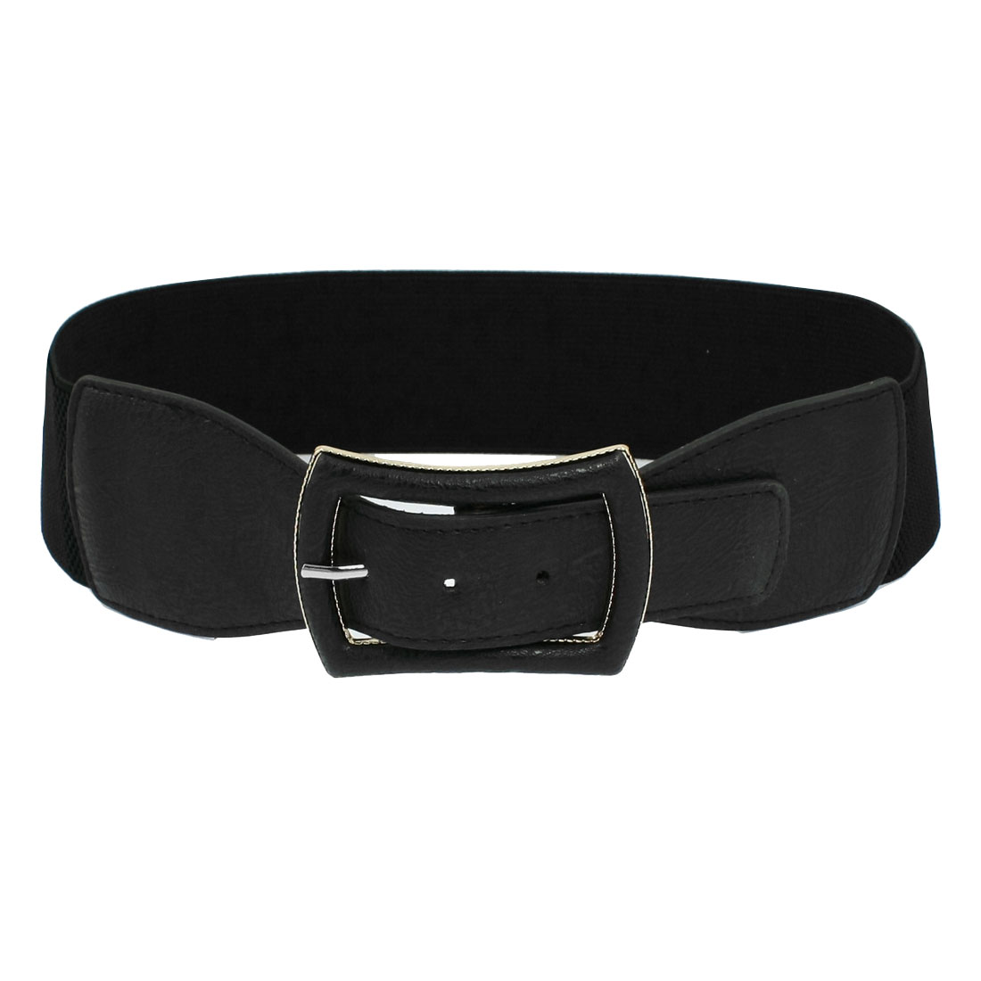 Woman-Single-Pin-Buckle-Stretchy-Cinch-Waist-Belt-Black-Actxc