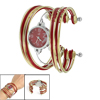 Red Gold Tone Metal Multi Tier Round Dial Bangle Quartz Watch