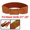 Woman Single Pin Buckle Stretchy Waist Belt Brown