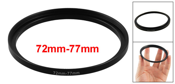 72mm-77mm Camera Lens Step Up Filter Black Metal Adapter Ring