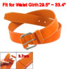 Orange Single Prong Buckle Faux Leather Row Stitching Strap Waist...