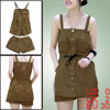 Women Light Brown Square Neckline Sleeveless Single Breasted Top ...