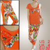 Ladies Orange Scoop Neck Cap Sleeve Butterfly Knot Decor Top Shir...