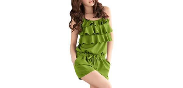 Woman Square Neckline Ruffled Casual Jumpsuit Romper Green S