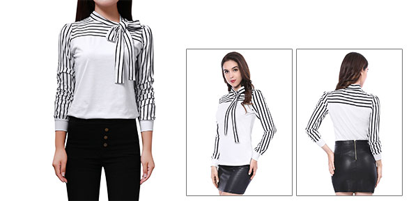 Allegra K Ladies Self Tie Knot Neck Long Sleeve Striped Shirt Top White S
