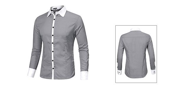 Mens Light Gray Tight-fitting Long Sleeve NEW Trendy Shirt Tops S