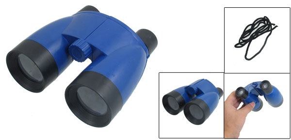 Children Toy Foldable Blue Black Plastic Binoculars w Black Neck Strap
