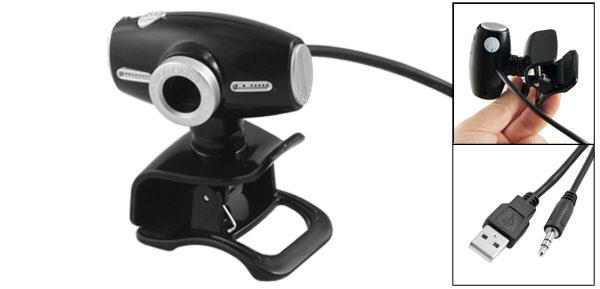 Black Waist Drum Design USB Laptop Webcam w 3.5mm Microphone