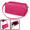 Ladies Snake Pattern Faux Leather Zipper Closure Magenta Wallet P...