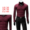 Mens Wine Red Casual Formfitting NEW Korea Point Collar Shirt Top...