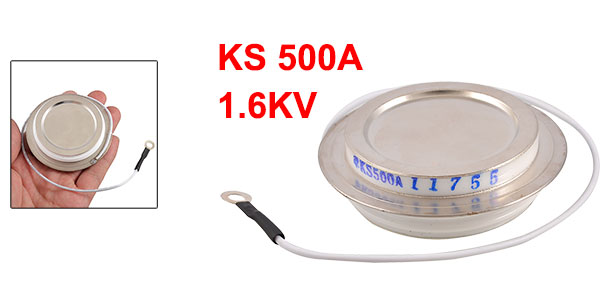 1.6KV 500A KS Silver Tone Metal Case Disc Type Bilateral Thyristor SCR