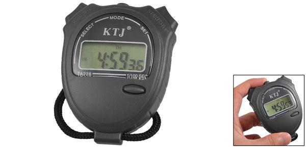 Black Neck Strap LCD Display Dark Gray Stopwatch Digital Watch